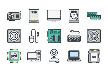 Computer parts related color line icon set. Components and hardware linear icons. Electronics colorful outline vector sign collection. Illustration