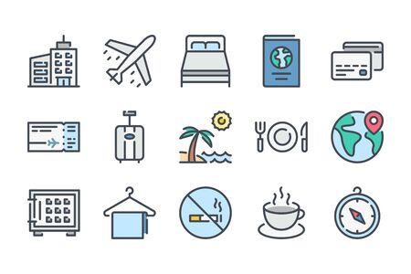 Travel and tourism related color line icon set. Vacation linear icons. World trip colorful outline vector sign collection.