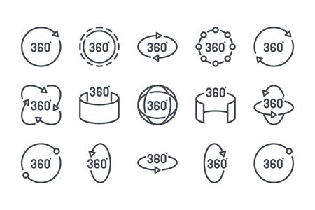 360 degree related line icon set. 360 view linear icons. Panorama view outline vector sign collection. 向量圖像