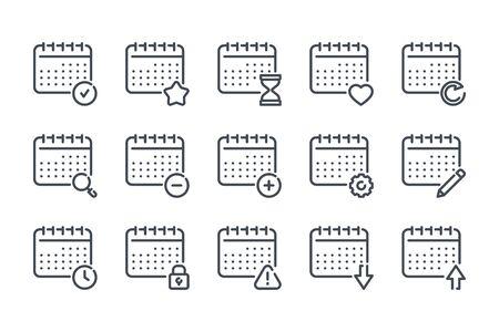 Calendar related line icon set. Linear calendar services vector icon collection.