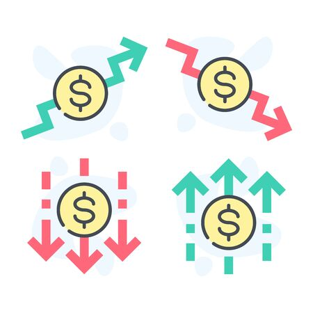 Increase and decrease cost of dollar vector illustration.