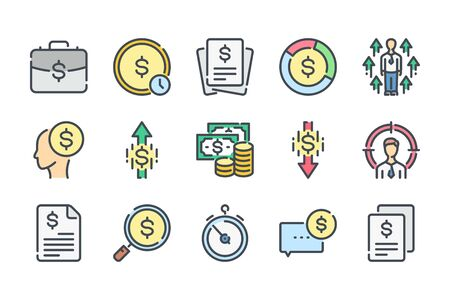Money and business color line icons. Finance colorful vector icon set.