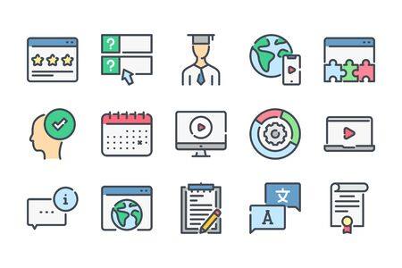 Education and e-learning related color line icons. Lectire and test, quiz colorful vector icon set. Ilustrace