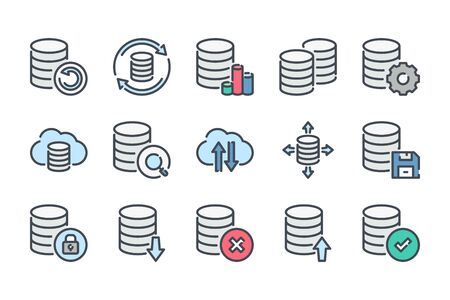 Data storage and database related color line icon set. Backup colorful linear icons. Data transfer and structure flat color outline vector signs and symbols collection. Illusztráció