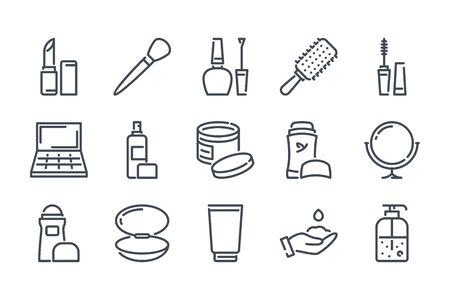 Beauty related line icon set. Makeup and Cosmetics linear icons. Skin and body care and outline vector signs and symbols collection.
