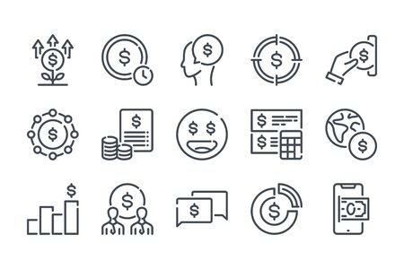 Money related line icon set. Finance linear icons. Banking outline vector signs and symbols collection. Ilustrace