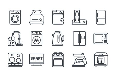 Home appliances related line icon set. Household linear icons. Kitchen appliances outline vector signs and symbols collection. Illusztráció