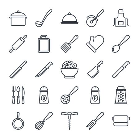 Kitchen related line icon set. Cooking linear icons. Kitchen utensils outline vector sign collection.
