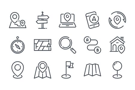 Navigation related line icon set. Location and direction linear icons. Destination outline vector signs and symbols collection. Illusztráció