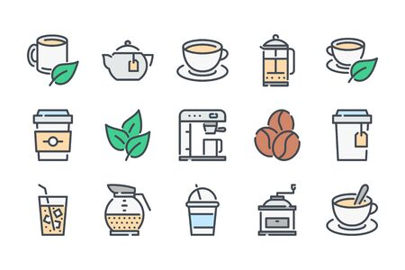 Tea and coffee related color line icon set. Coffee house colorful linear icons. Coffee break flat color outline vector sign collection.