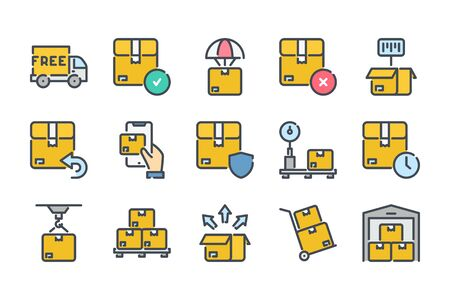 Delivery related color line icon set. Shipping colorful linear icons. Storage and distribution flat color outline vector signs and symbols collection.