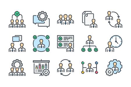 Business and office related color line icon set. HR and structure colorful linear icons. Employee and management flat color outline vector sign collection. Ilustracja