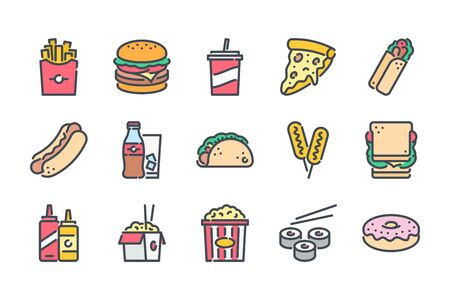 Fast food related color line icon set. Street food colorful linear icons. Burger, hotdog and sandwich flat color outline vector signs and symbols collection. Ilustração