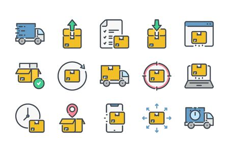 Delivery related color line icon set. Export and import colorful linear icons. Logistic flat color outline vector signs and symbols collection. Ilustrace
