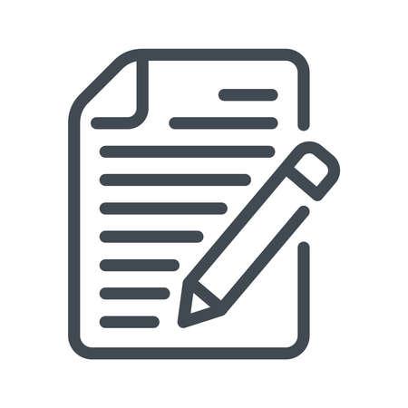 Writing line icon. Paper Document line icon. Vector illustation.