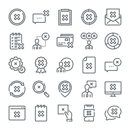 Cancellation related line icon set. Negative result linear icon collection. Decline and cancel vector icons. Ilustração