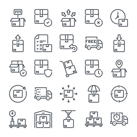 Delivery related line icon set. Shipping linear icons. Storage and distribution outline vector signs and symbols collection. Illustration