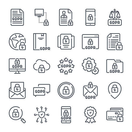 General Data Protection Regulation related line icon set. GDPR linear icons. Privacy policy outline vector signs and symbols collection. Illustration