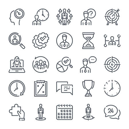 Strategy related line icon set. Business analytics and marketing action line icons.