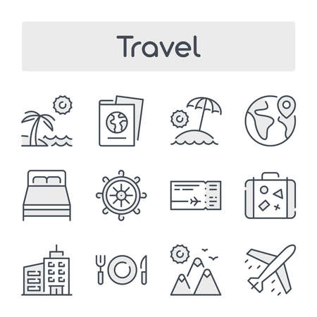 Thin Line Set with Gray Shades of Travel and Tourism related vector icons. 向量圖像