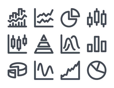 Statistics and Analytics bold line icons. Illustration