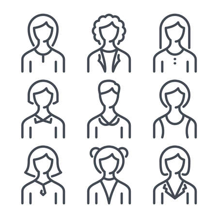 Womens line avataricons. Female silhouettes line icons.