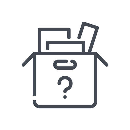 Lost items line vector icon. unidentified items outline isolated icon. Illustration
