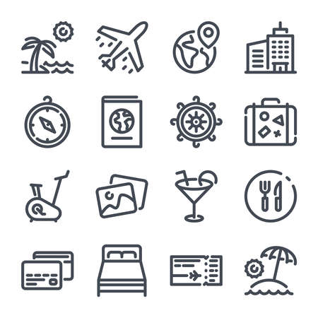 Travel And Touristm bold line vector icons. 向量圖像