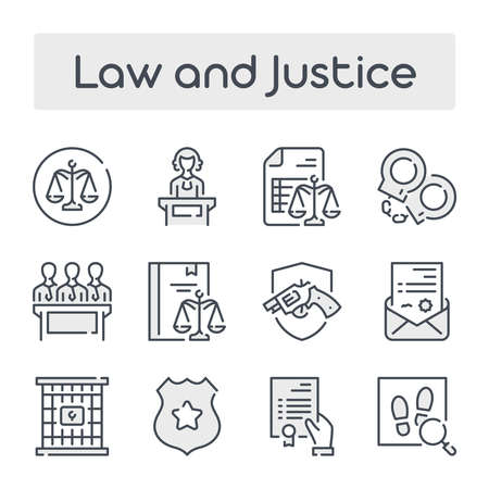 Thin Line Set with Gray Shades of Law and Justice related vector icons.
