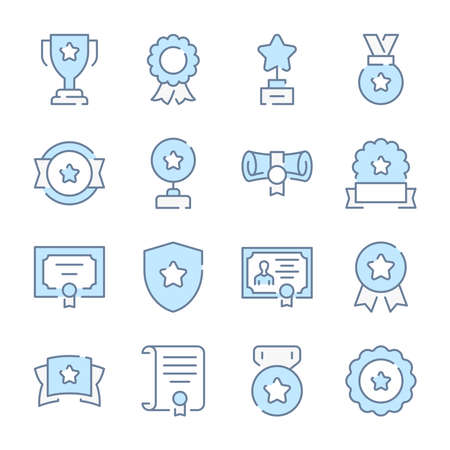 Medal and Award, Trophy and Certificate related blue line colored icons. 일러스트