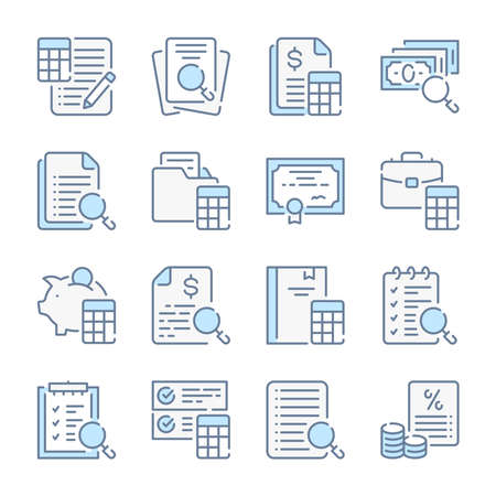 Accounting, Auditing and Finance calculations related blue line colored icons.