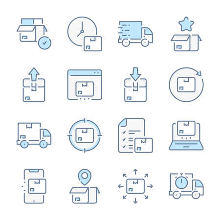 Delivery, Logistics and Distribution related blue line colored icons.