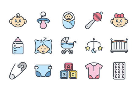 Newborn related color line icon set. Maternity and childhood colorful linear icons. Baby flat color outline vector sign collection.