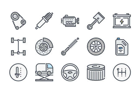 Car service related color line icon set. Car repair and inspection colorful linear icons. Car parts flat color outline vector sign collection.