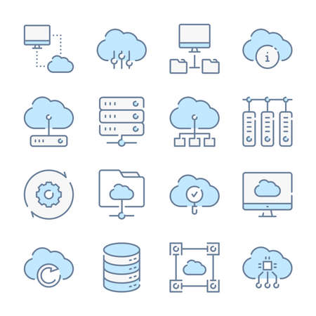 Cloud computing, Computer system and Cloud services related blue line colored icons.