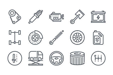 Car service related line icon set. Car repair and inspection linear icons. car parts outline vector signs and symbols collection. Illustration