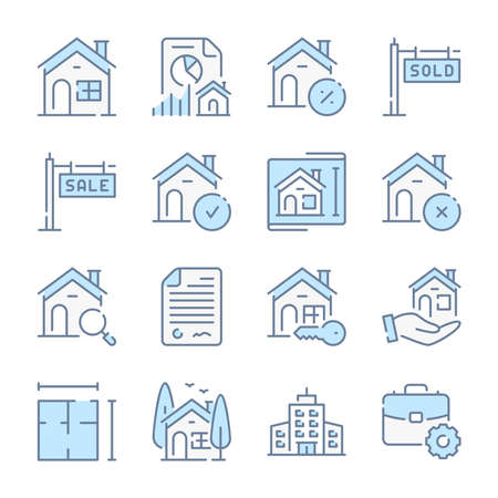 Real Estate, Mortgage and Building architecture related blue line colored icons.