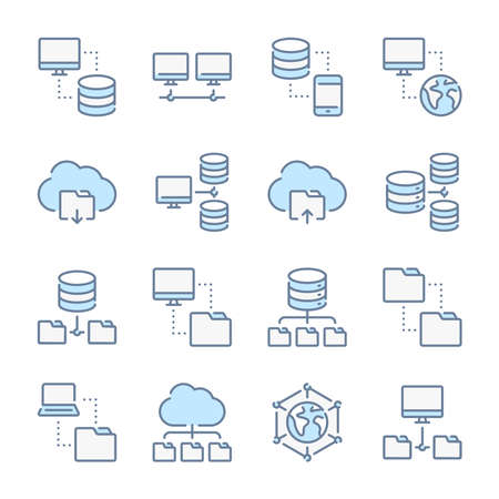 Data transfer, Database, Network and Hosting related blue line colored icons.
