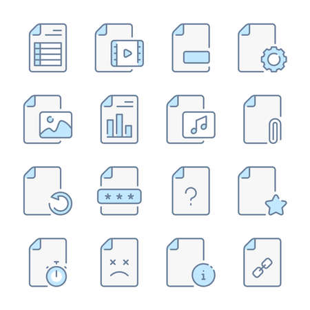 Docs, files and Document preferences related blue line colored icons.