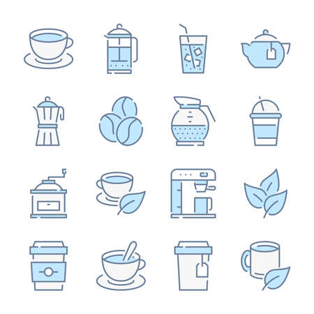 Coffee, Tea and Coffee house related blue line colored icons.