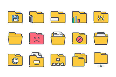 Folder related color line icon set. Document archive colorful linear icons. File organization flat color outline vector sign collection. Illustration
