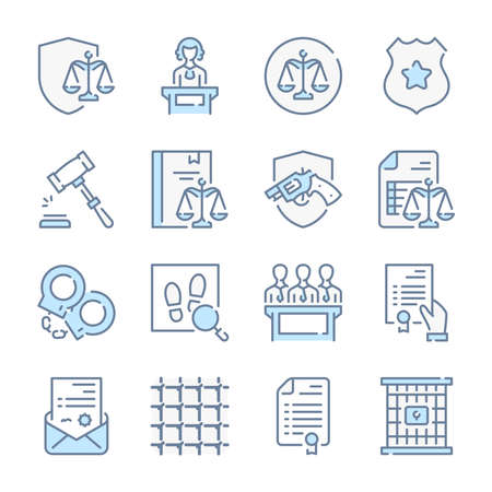 Law, Justice and Government related blue line colored icons.