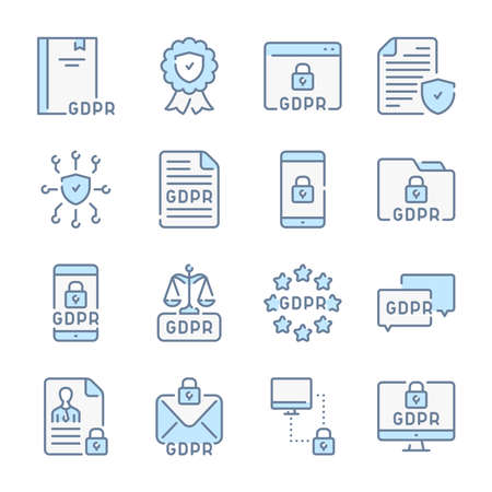 General Data Protection Regulation, Privacy policy and GDPR related blue line colored icons.