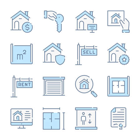 Real Estate, Apartment and Mortgage related blue line colored icons.