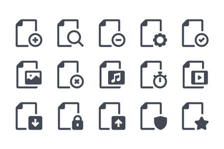 File format glyph icon set. Doc options filled icons. Document settings solid vector sign collection.