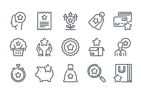 Customer reward service related line icon set. Loyalty program and client bonuses linear icons. Coupon and point tickets outline vector sign collection.