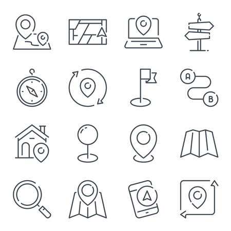 Location related line icon set. Navigation and direction linear icons. Destination outline vector signs and symbols collection.