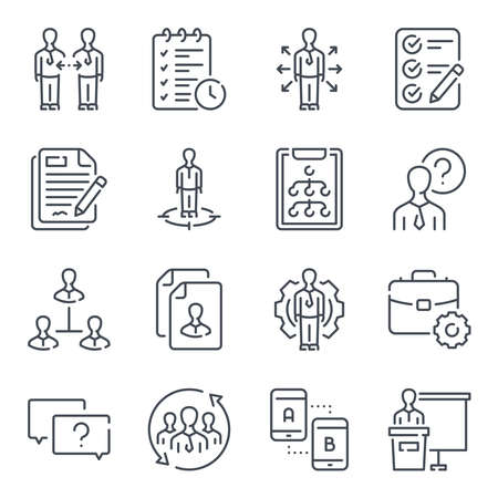 Management related line icon set. Business people linear icons. Collaboration outline vector sign collection. Ilustração
