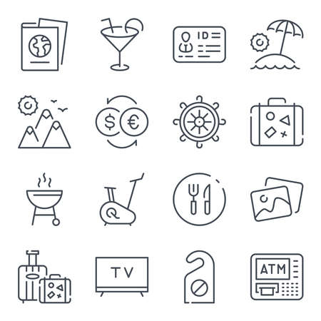 Tourism and Hotel services related line icons. Travel vector linear icon set.