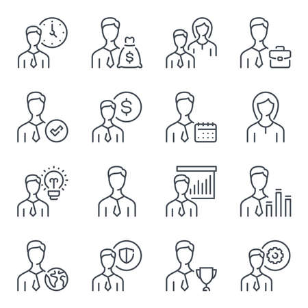 Business people related line icon set. Working staff linear icons. Team work outline vector sign collection.